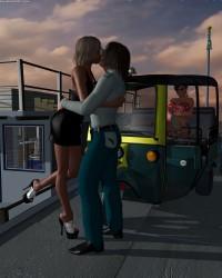 Kyndra Kisses Her Cab Driver