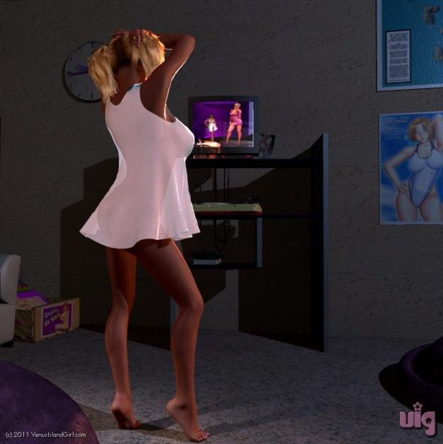 Gigi Jiggles Watching TV 1