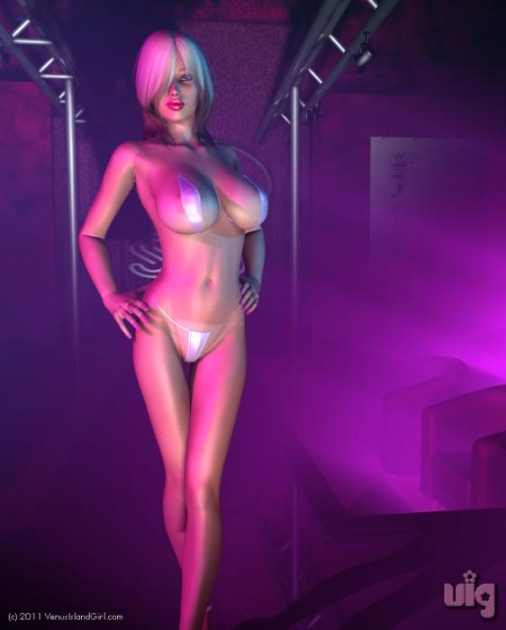 Roxanne On The Catwalk In A Tiny Plastic or Nylon Bikini